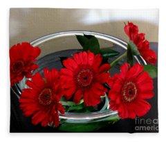 Red Flowers. Special Fleece Blanket