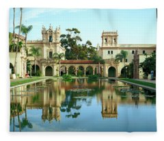 Reflecting Pool In Front Of A Building Fleece Blanket