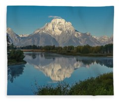 Reflections Of Mount Moran Fleece Blanket