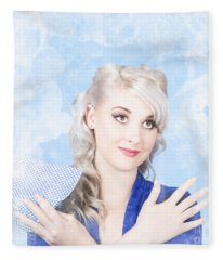 Retro Woman Cleaner With Rag Cleaning Dirty Window Fleece Blanket