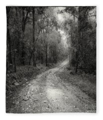 Road Way In Deep Forest Fleece Blanket