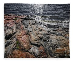 Rock Formations At Georgian Bay Fleece Blanket