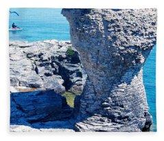 Rock Formations, Bruce Peninsula Fleece Blanket