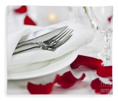 Romantic Dinner Setting With Rose Petals Fleece Blanket