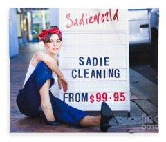 Sadie The Cleaning Lady Fleece Blanket