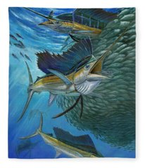 Sailfish With A Ball Of Bait Fleece Blanket