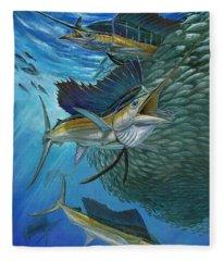 Sailfish With A Ball Of Bait Fleece Blanket
