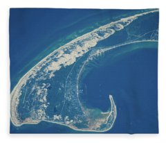 Satellite View Of Cape Cod National Fleece Blanket