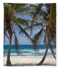 Serene Caribbean Beach  Fleece Blanket