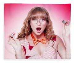 Shocked Genius Business Woman With Explosive Idea Fleece Blanket