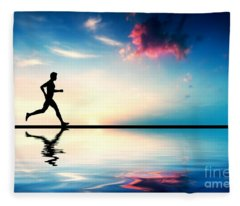 Silhouette Of Man Running At Sunset Fleece Blanket