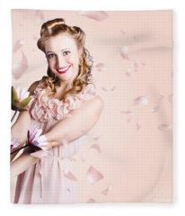 Smiling Flower Girl Dancing In Spring Petal Rain Fleece Blanket