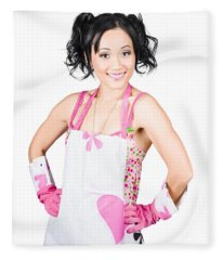 Smiling Spring Cleaning Woman. Isolated Housework  Fleece Blanket