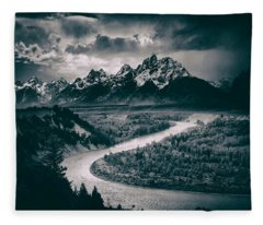 Snake River In The Tetons - 1930s Fleece Blanket