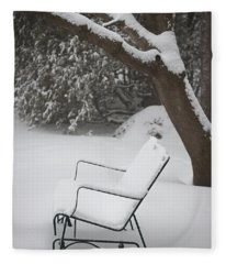 Snow Covered Bench Fleece Blanket