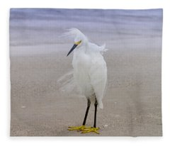 Snowy Egret At The Beach Fleece Blanket