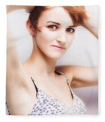 Soft Studio Portrait Of A Short Haired Beauty Fleece Blanket