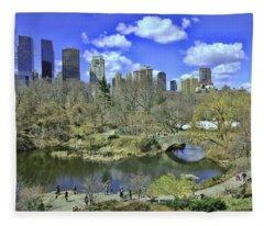 Springtime In Central Park Fleece Blanket