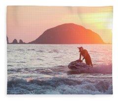 Stand Up Jet Ski Rider  Sessioning Fleece Blanket