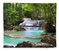 Stream With Waterfall In Tropical Forest Fleece Blanket