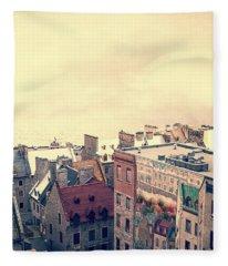 Streets Of Old Quebec City Fleece Blanket