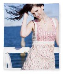 Summer Breeze Woman Fleece Blanket