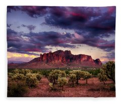 Sunset At The Superstitions  Fleece Blanket