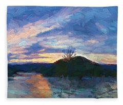 Sunset Pano - Watauga Lake Fleece Blanket