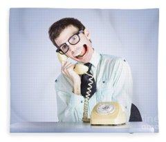 Talkative Nerd Man With Big Mouth Fleece Blanket