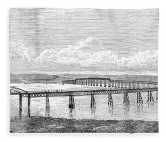 Tay Rail Bridge, 1879 Fleece Blanket