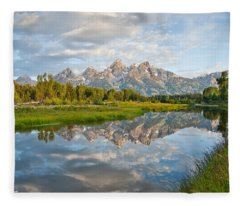 Teton Range Reflected In The Snake River Fleece Blanket