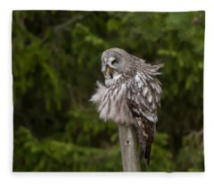 The Great Grey Owl Fleece Blanket