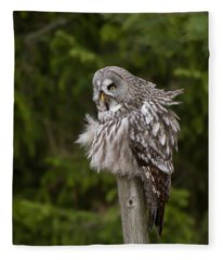 The Great Grey Owl Fleece Blanket