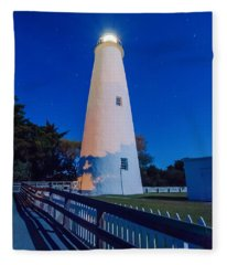 The Ocracoke Lighthouse On Ocracoke Island On The North Carolina Fleece Blanket
