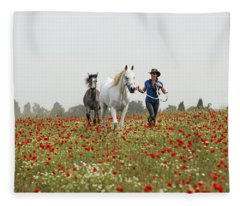 Three At The Poppies' Field... 3 Fleece Blanket