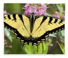 Tiger Swallowtail Butterfly On Milkweed Flowers Fleece Blanket
