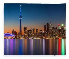 Toronto Skyline At Dusk Fleece Blanket
