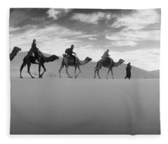 Tourists Riding Camels Fleece Blanket