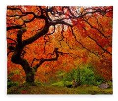 Tree Fire Fleece Blanket