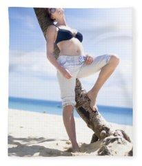 Tropical Island Paradise Fleece Blanket