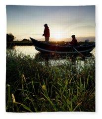 Two Men Fish The Teton River Fleece Blanket