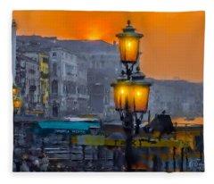 Venezia Al Crepuscolo Fleece Blanket