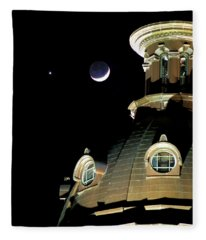 Venus And Crescent Moon-1 Fleece Blanket
