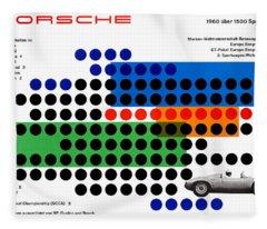 Vintage 1960s Porsche Advert Fleece Blanket