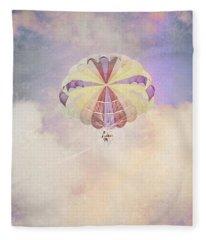 Vintage Parachute In Clouds Fleece Blanket
