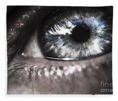 Visionary Blue Eye Watching Electric Skies Fleece Blanket