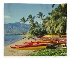 Kenolio Beach Sugar Beach Kihei Maui Hawaii  Fleece Blanket