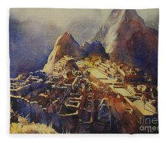 Watercolor Painting Machu Picchu Peru Fleece Blanket