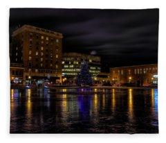 Wausau After Dark At Christmas Fleece Blanket