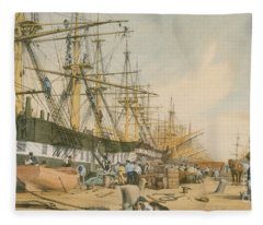 West India Docks From The South East Fleece Blanket